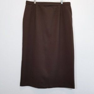 LIZ BAKER Womens Brown Long Straight Dress Skirt